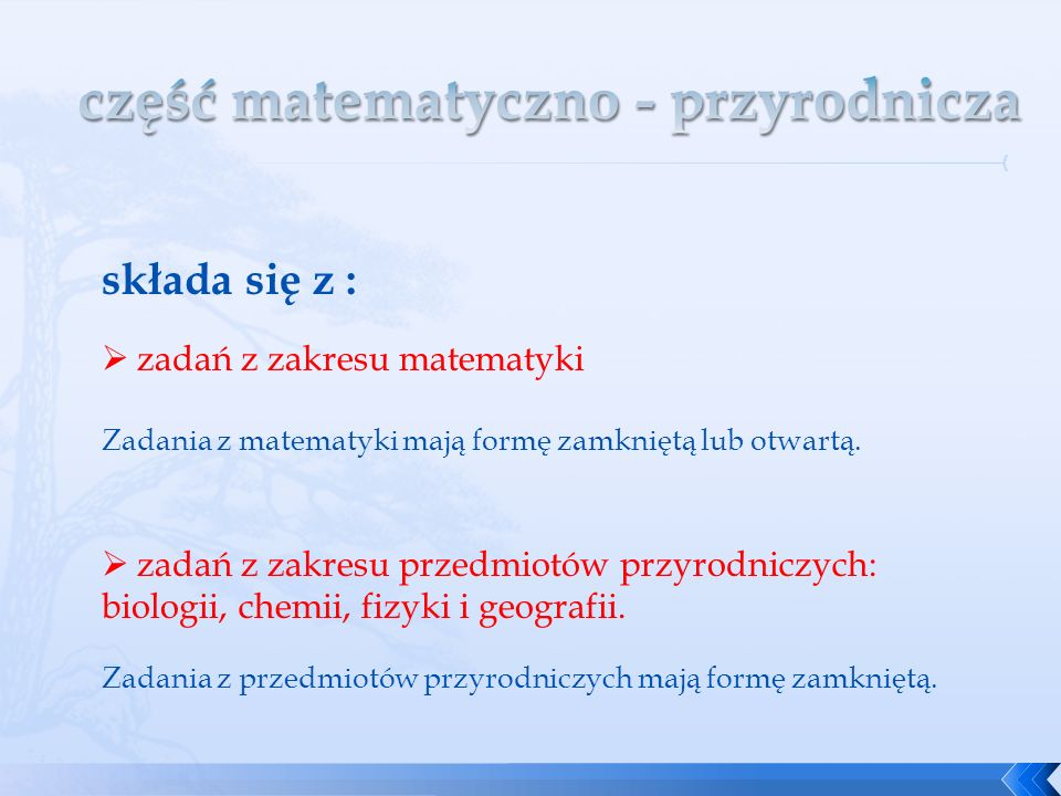 część matematyczno - przyrodnicza