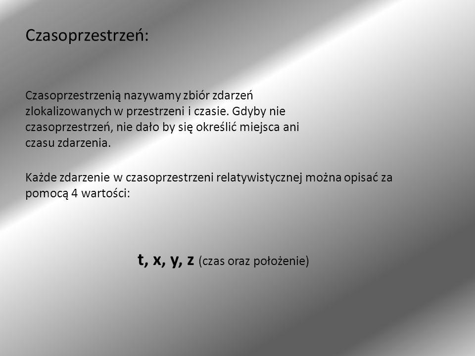 t, x, y, z (czas oraz położenie)