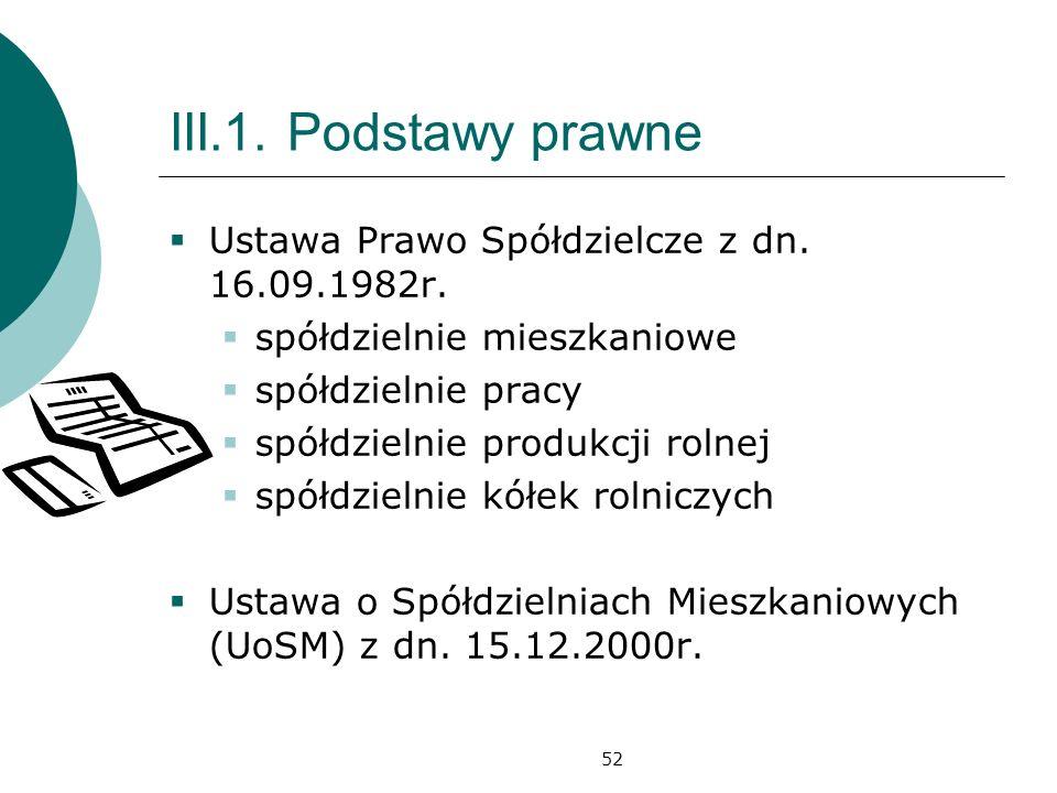 III.1. Podstawy prawne Ustawa Prawo Spółdzielcze z dn. 16.09.1982r.