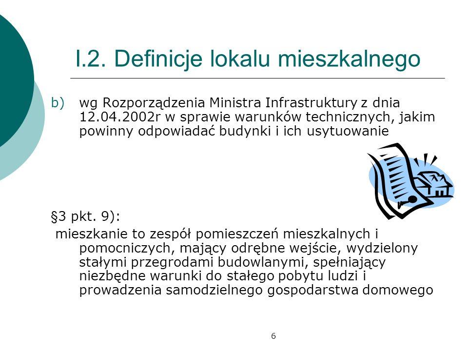 I.2. Definicje lokalu mieszkalnego