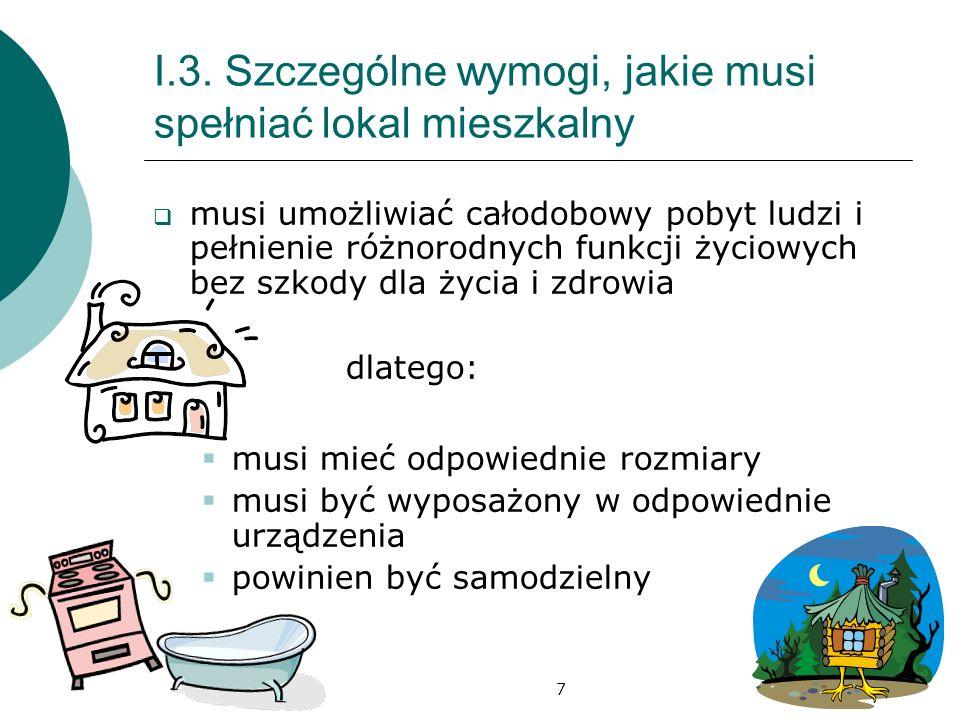 I.3. Szczególne wymogi, jakie musi spełniać lokal mieszkalny