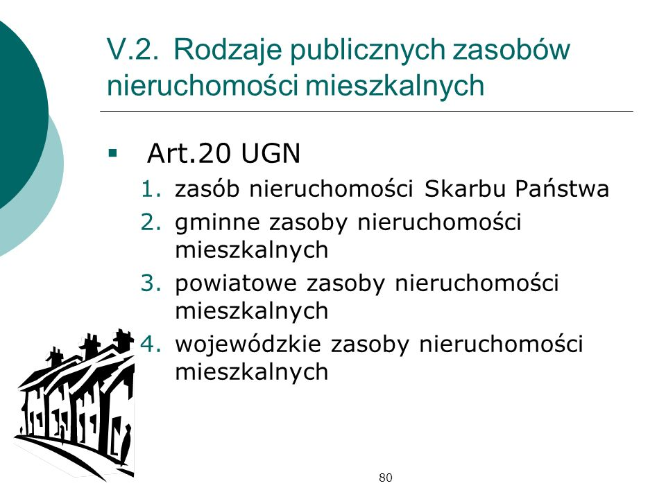 V.2. Rodzaje publicznych zasobów nieruchomości mieszkalnych