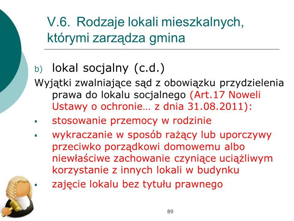 V.6. Rodzaje lokali mieszkalnych, którymi zarządza gmina