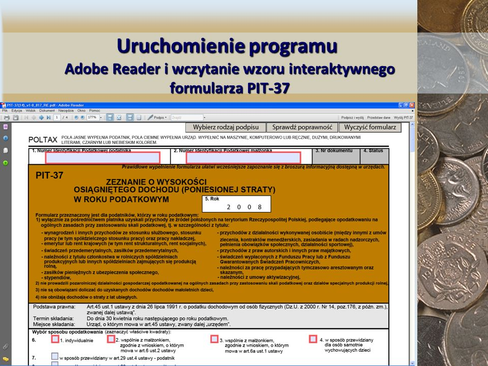 Uruchomienie programu Adobe Reader i wczytanie wzoru interaktywnego formularza PIT-37