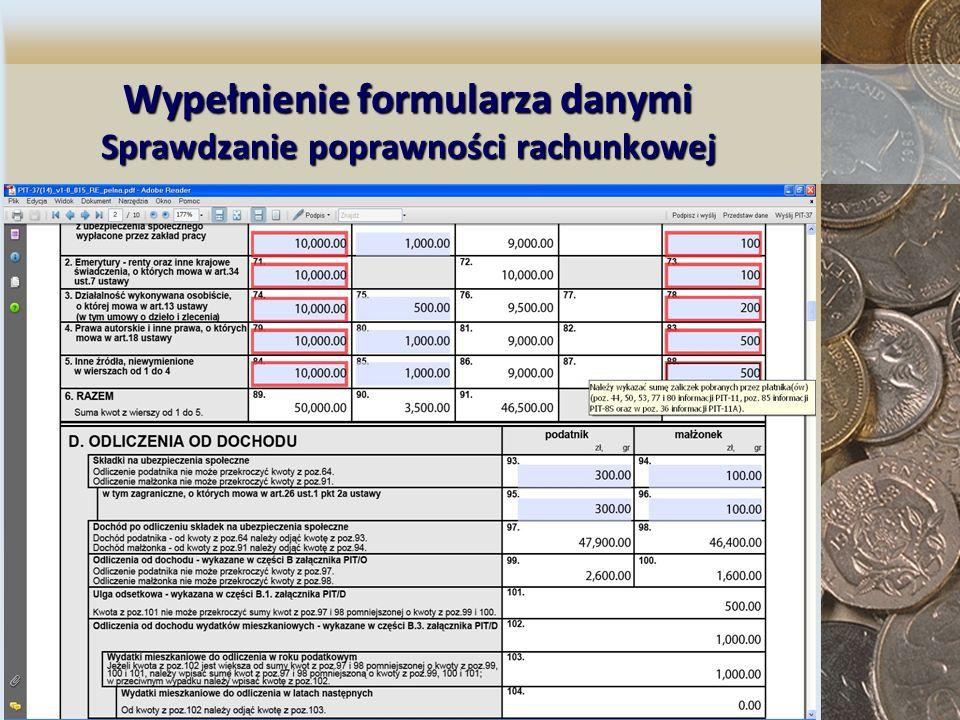Wypełnienie formularza danymi Sprawdzanie poprawności rachunkowej