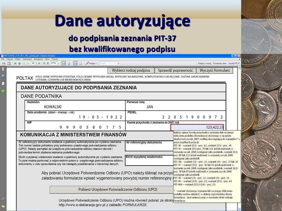 Dane autoryzujące do podpisania zeznania PIT-37 bez kwalifikowanego podpisu