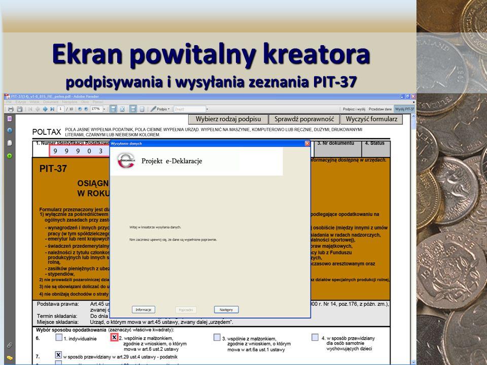 Ekran powitalny kreatora podpisywania i wysyłania zeznania PIT-37