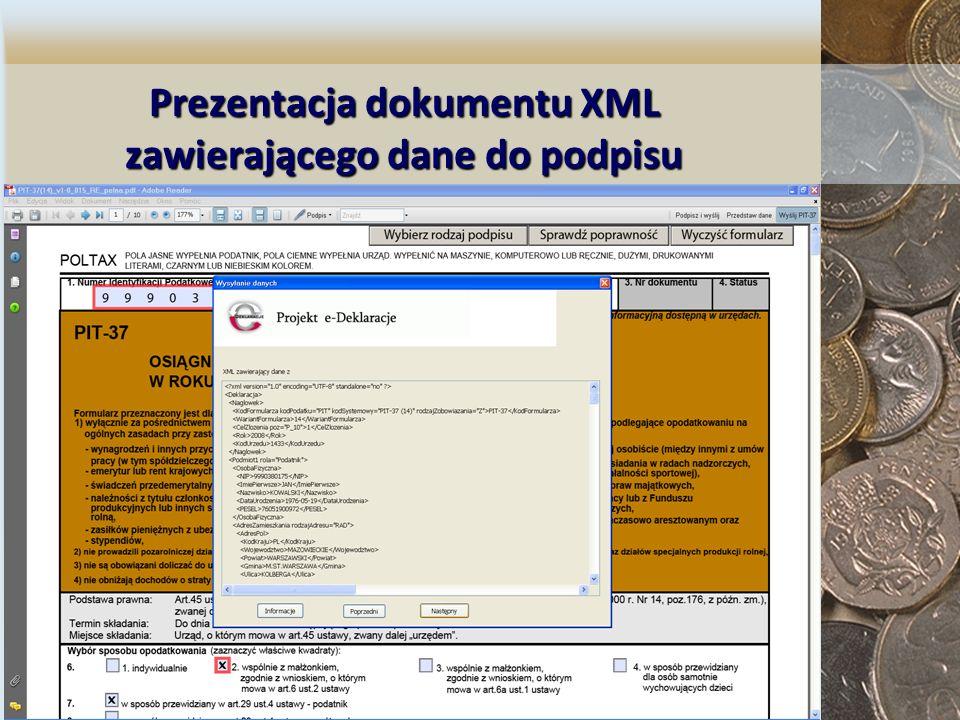 Prezentacja dokumentu XML zawierającego dane do podpisu