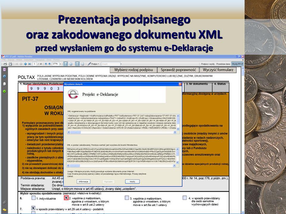 Prezentacja podpisanego oraz zakodowanego dokumentu XML przed wysłaniem go do systemu e-Deklaracje