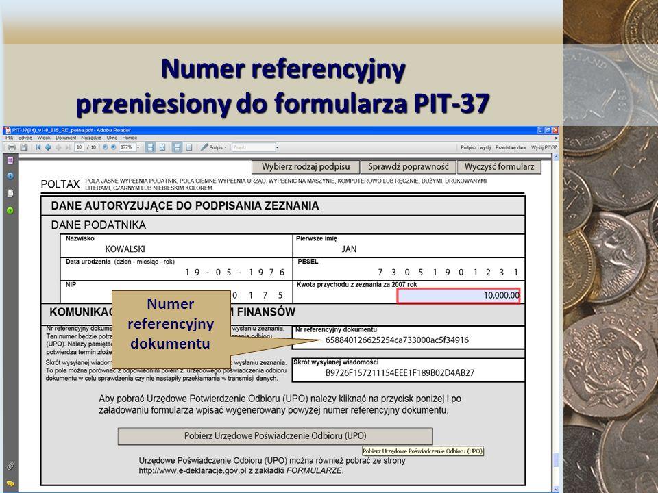 Numer referencyjny przeniesiony do formularza PIT-37