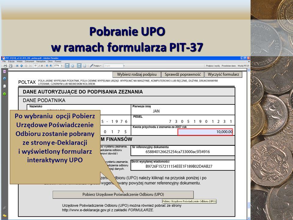 Pobranie UPO w ramach formularza PIT-37
