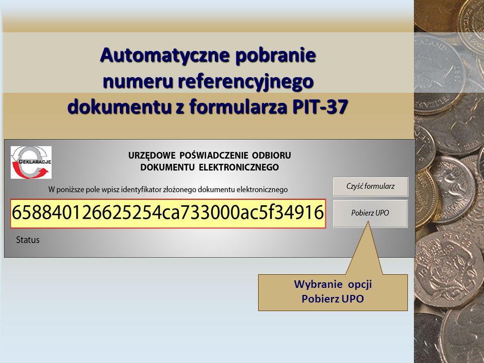 Automatyczne pobranie numeru referencyjnego dokumentu z formularza PIT-37
