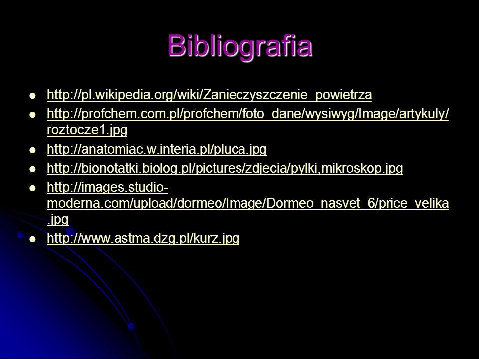 Bibliografia http://pl.wikipedia.org/wiki/Zanieczyszczenie_powietrza