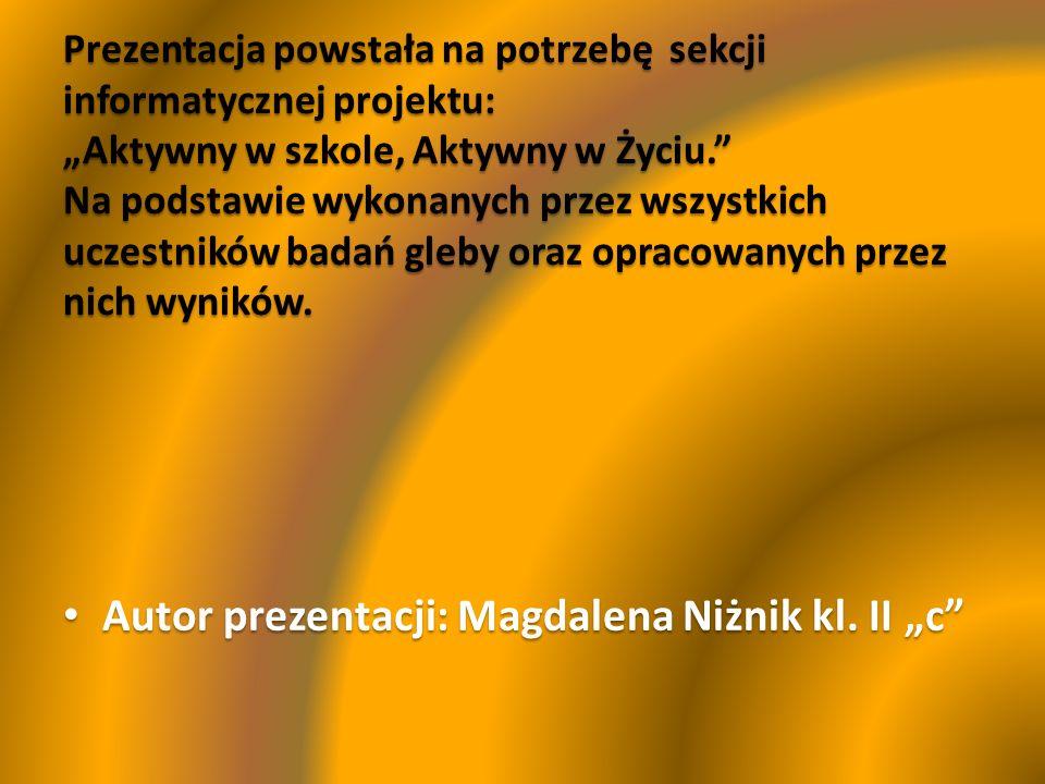 "Autor prezentacji: Magdalena Niżnik kl. II ""c"