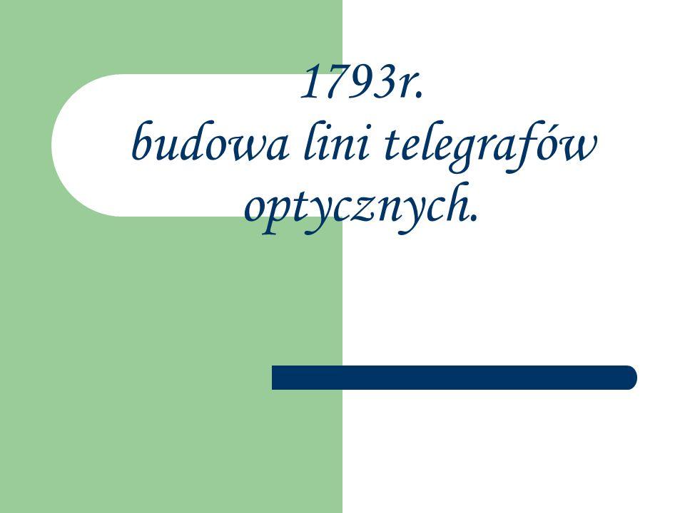 1793r. budowa lini telegrafów optycznych.