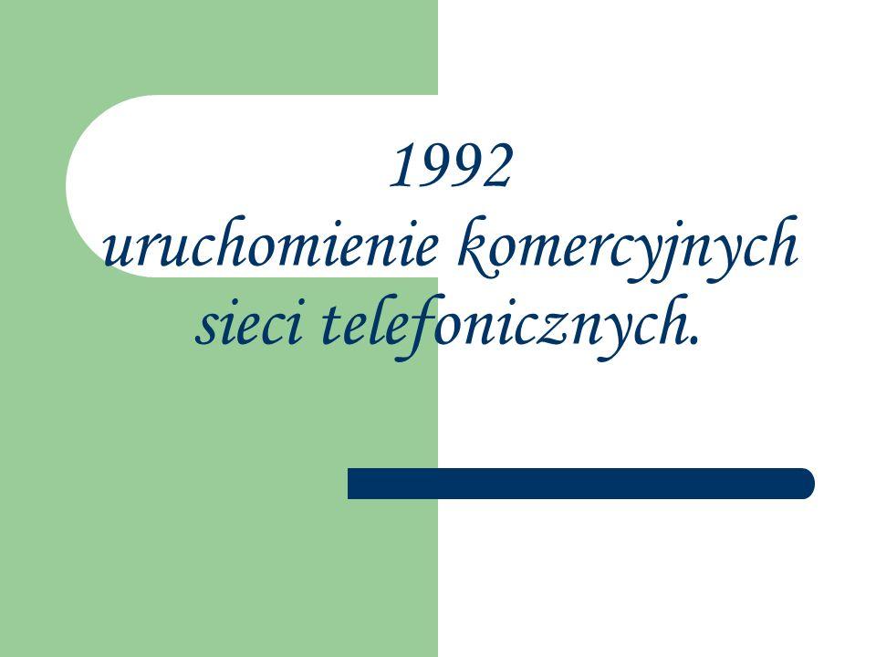 1992 uruchomienie komercyjnych sieci telefonicznych.