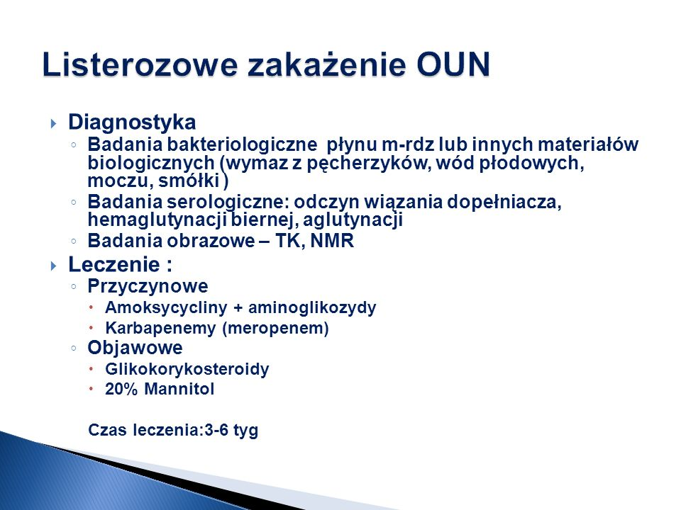 Listerozowe zakażenie OUN