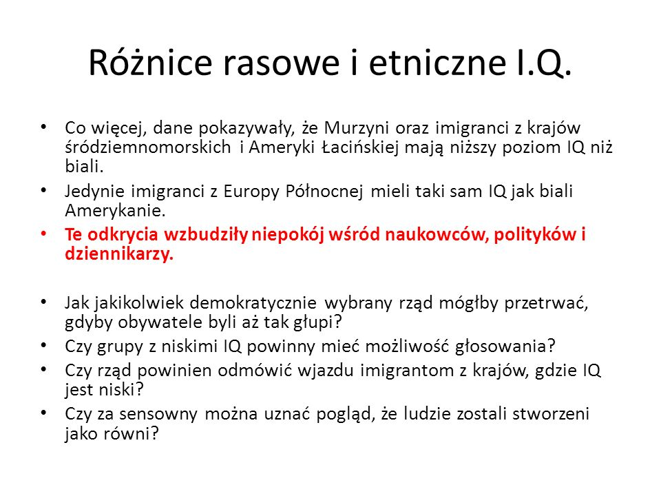 Różnice rasowe i etniczne I.Q.