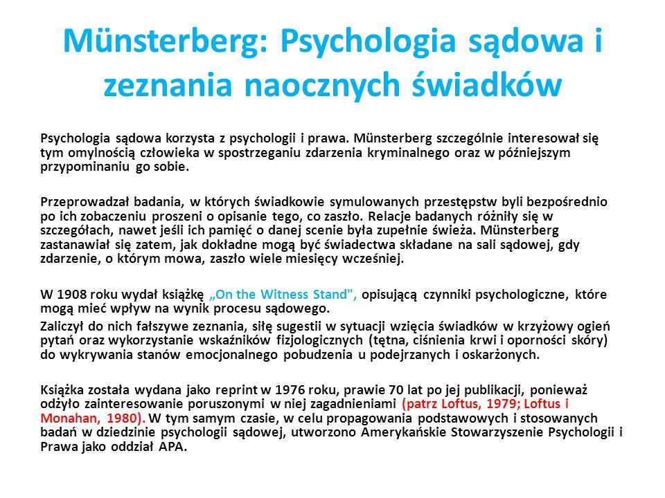 Münsterberg: Psychologia sądowa i zeznania naocznych świadków