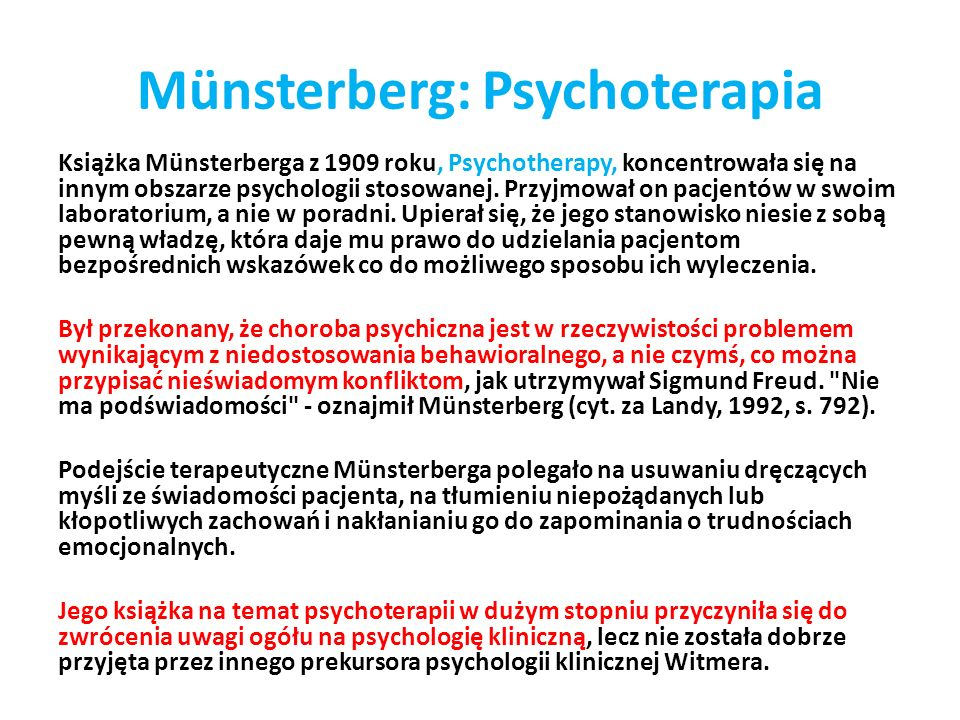 Münsterberg: Psychoterapia