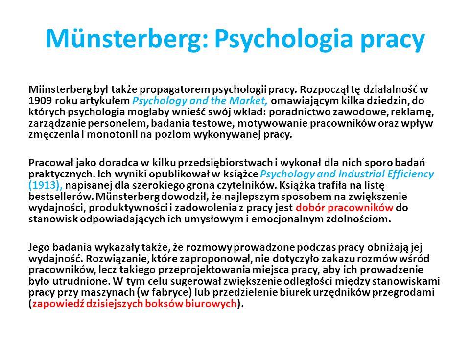 Münsterberg: Psychologia pracy