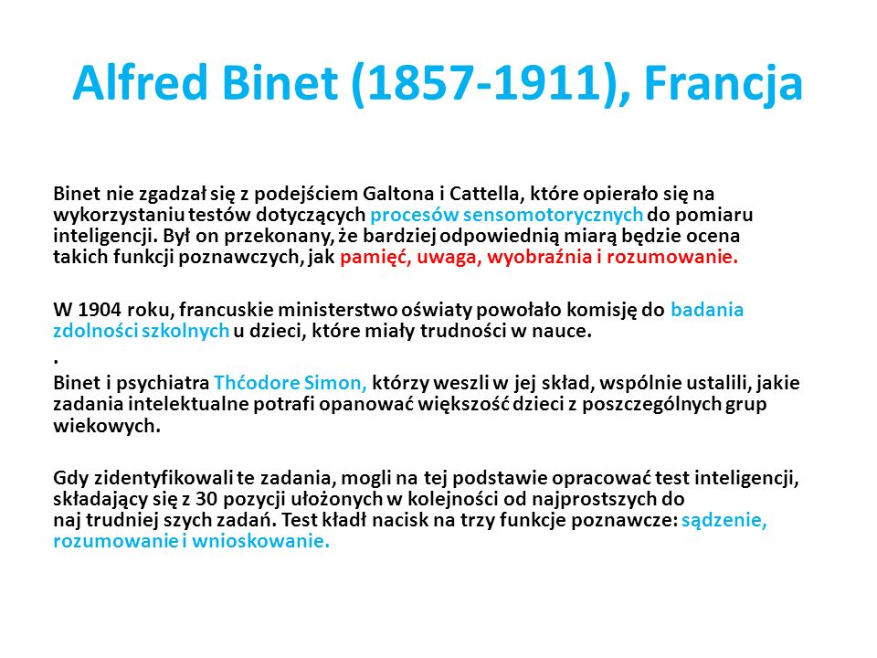 Alfred Binet (1857-1911), Francja