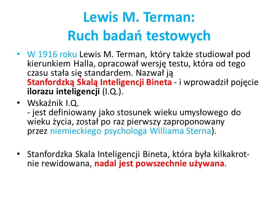 Lewis M. Terman: Ruch badań testowych