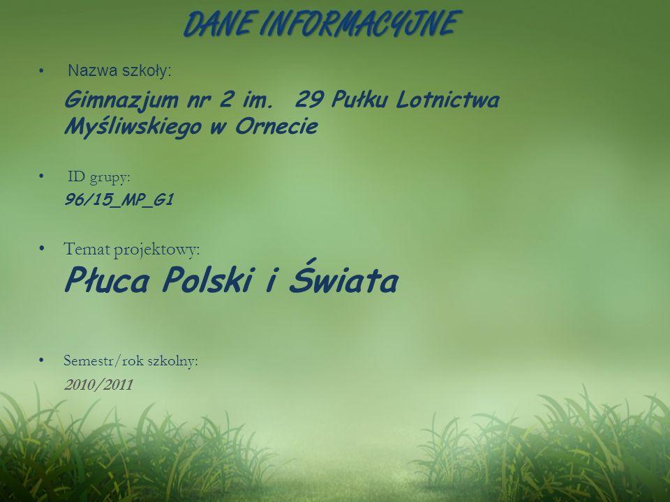 DANE INFORMACYJNE Temat projektowy: Płuca Polski i Świata