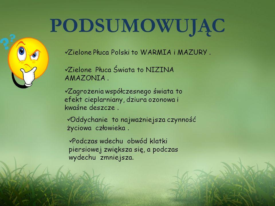 PODSUMOWUJĄC Zielone Płuca Polski to WARMIA i MAZURY .