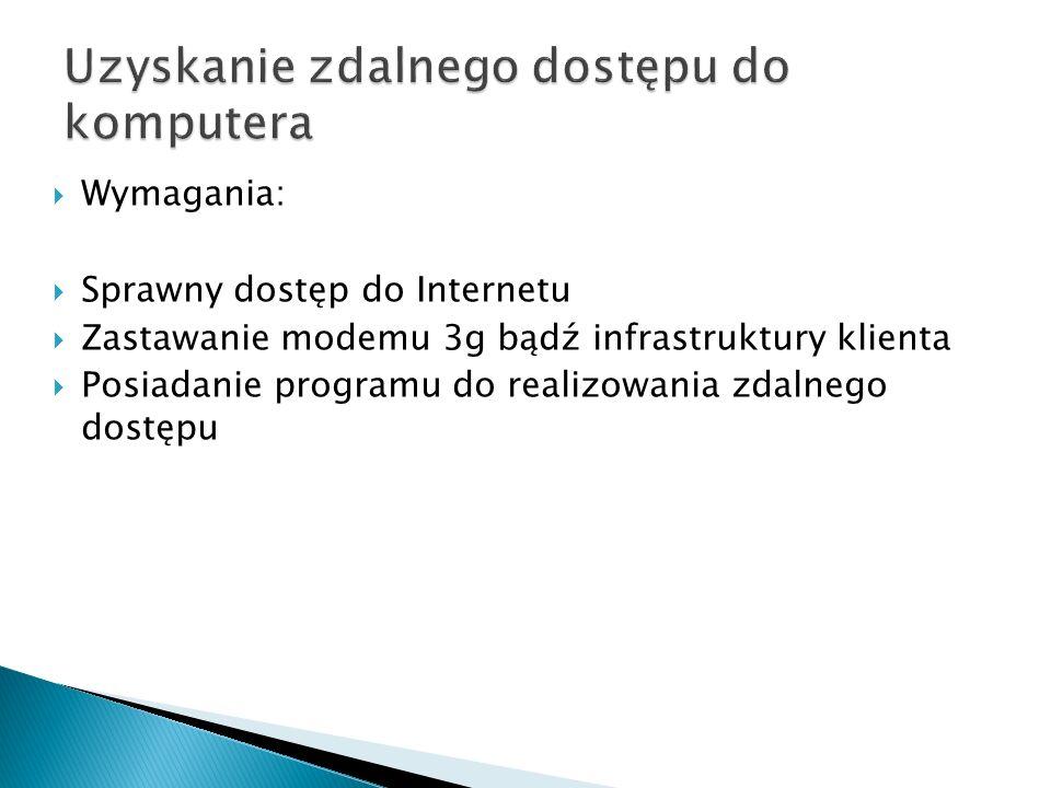 Uzyskanie zdalnego dostępu do komputera