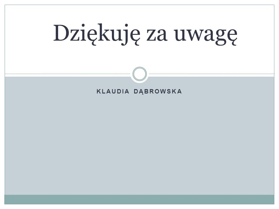 Dziękuję za uwagę Klaudia Dąbrowska
