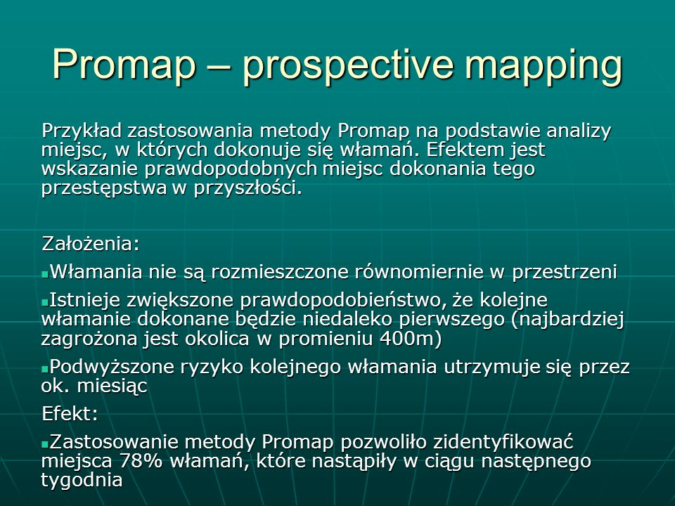 Promap – prospective mapping
