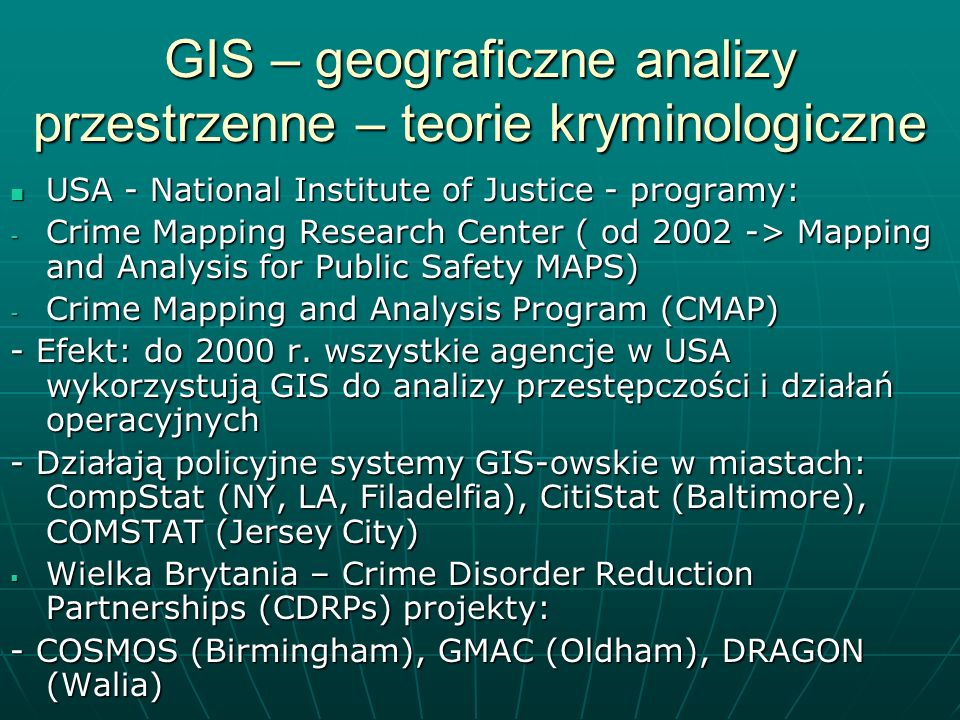 GIS – geograficzne analizy przestrzenne – teorie kryminologiczne