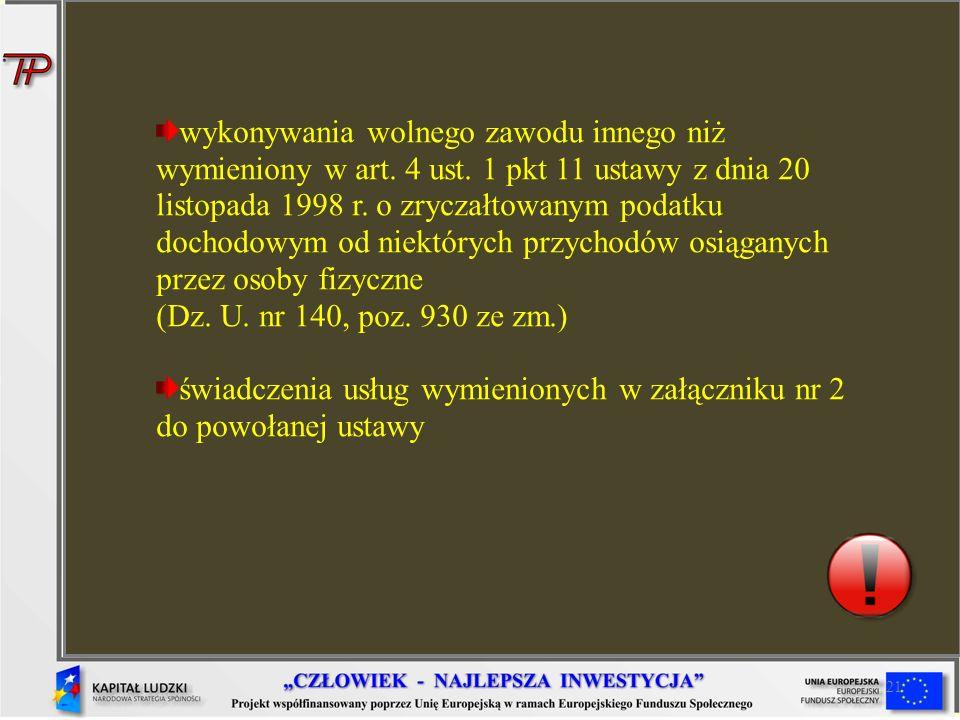 świadczenia usług wymienionych w załączniku nr 2 do powołanej ustawy