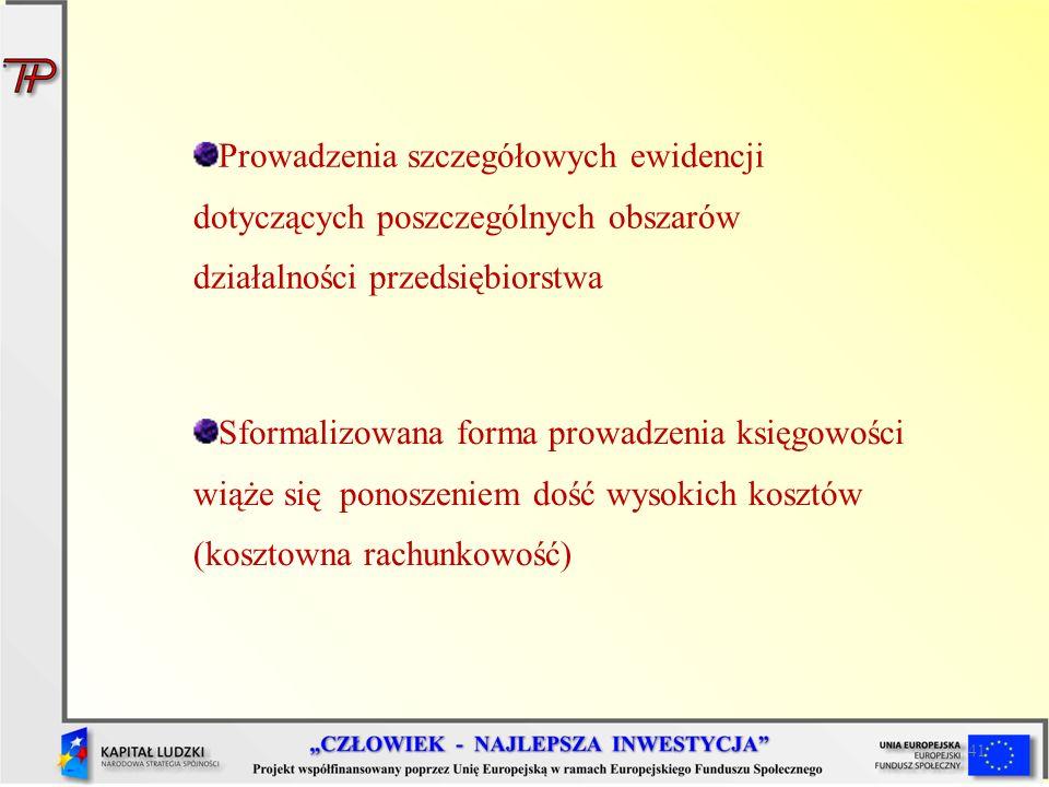 Prowadzenia szczegółowych ewidencji dotyczących poszczególnych obszarów działalności przedsiębiorstwa