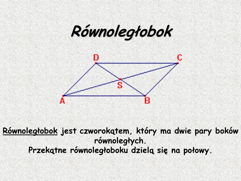 Równoległobok Równoległobok jest czworokątem, który ma dwie pary boków równoległych.