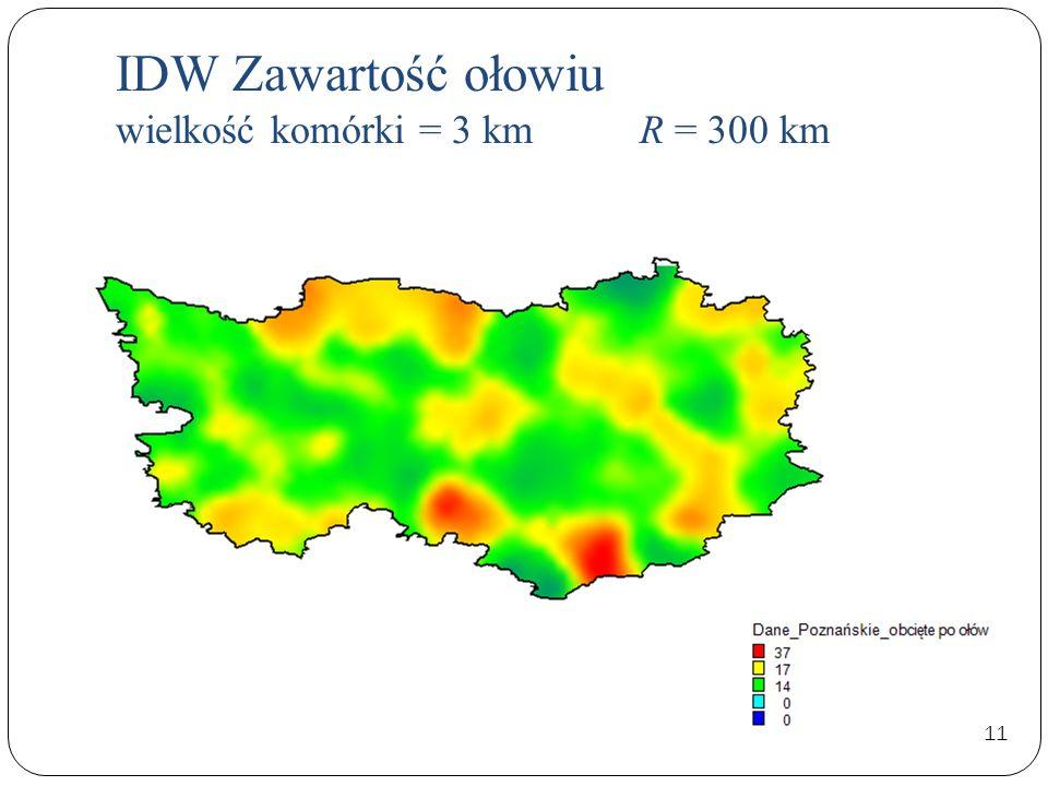 IDW Zawartość ołowiu wielkość komórki = 3 km R = 300 km