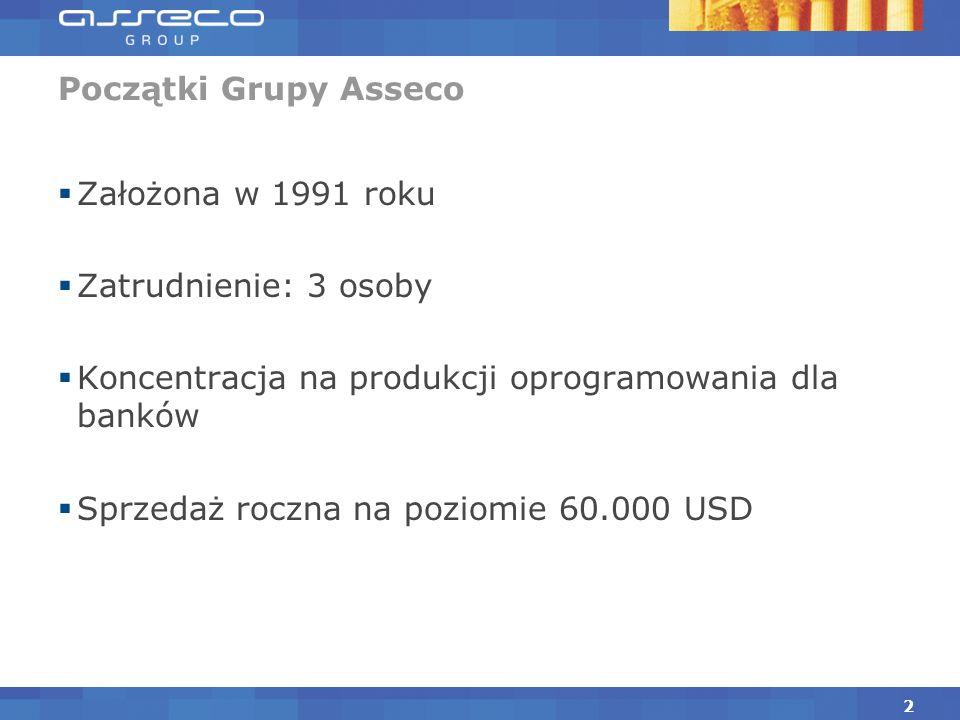 Początki Grupy Asseco Założona w 1991 roku. Zatrudnienie: 3 osoby. Koncentracja na produkcji oprogramowania dla banków.
