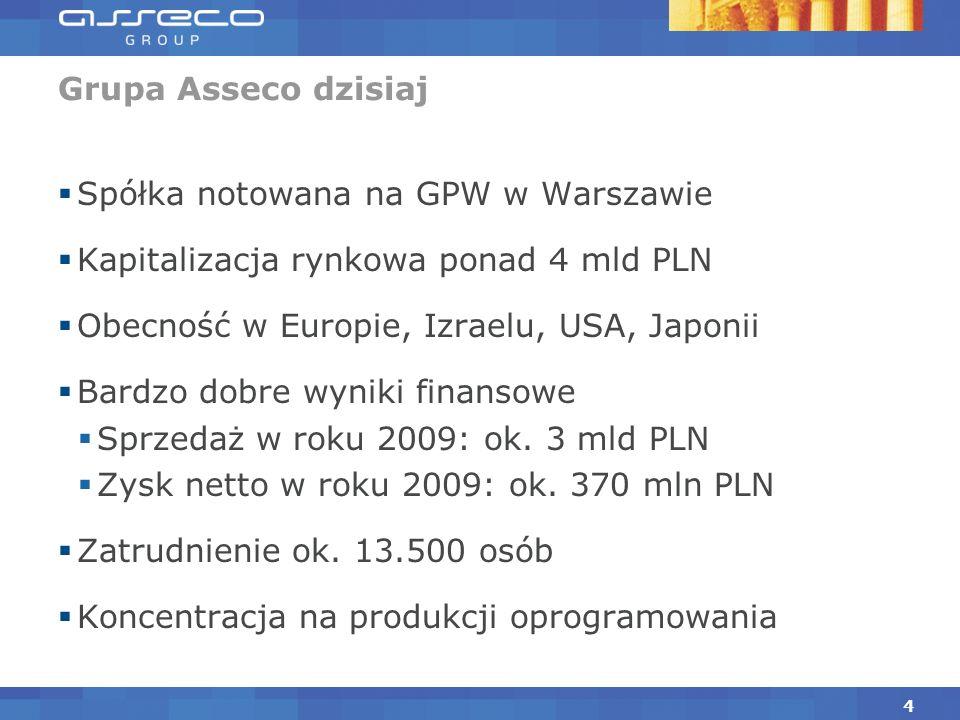 Grupa Asseco dzisiaj Spółka notowana na GPW w Warszawie. Kapitalizacja rynkowa ponad 4 mld PLN. Obecność w Europie, Izraelu, USA, Japonii.