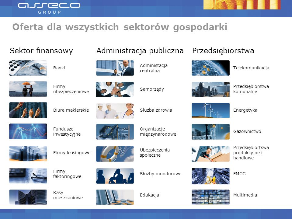 Oferta dla wszystkich sektorów gospodarki