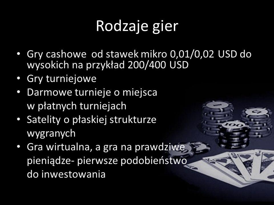 Rodzaje gier Gry cashowe od stawek mikro 0,01/0,02 USD do wysokich na przykład 200/400 USD. Gry turniejowe.