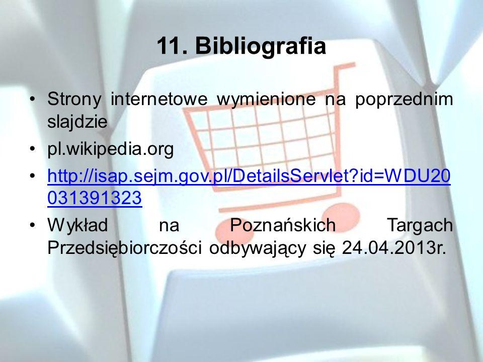11. Bibliografia Strony internetowe wymienione na poprzednim slajdzie