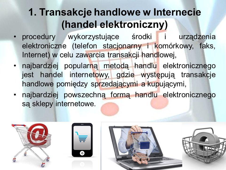 1. Transakcje handlowe w Internecie (handel elektroniczny)
