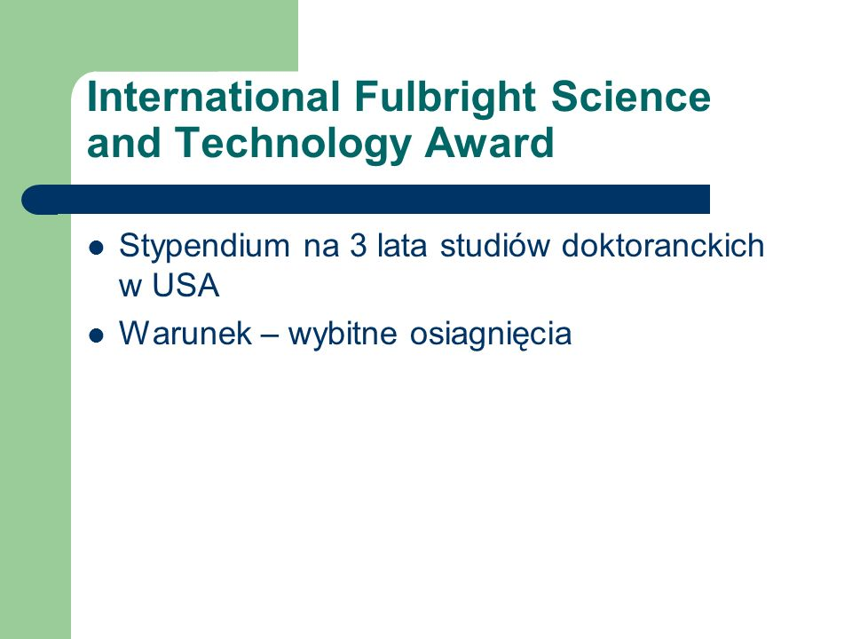 International Fulbright Science and Technology Award
