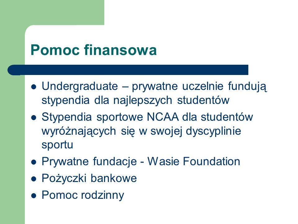Pomoc finansowaUndergraduate – prywatne uczelnie fundują stypendia dla najlepszych studentów.