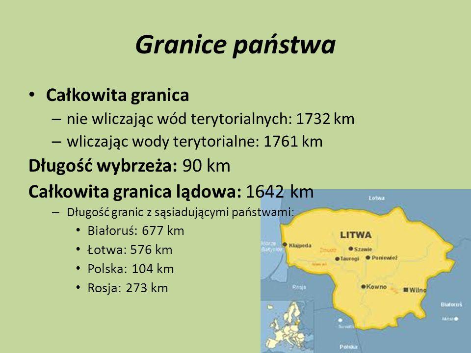 Granice państwa Całkowita granica Długość wybrzeża: 90 km