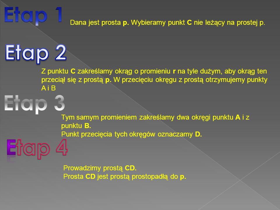 Etap 1 Dana jest prosta p. Wybieramy punkt C nie leżący na prostej p. Etap 2.
