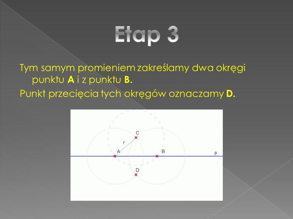 Etap 3 Tym samym promieniem zakreślamy dwa okręgi punktu A i z punktu B.