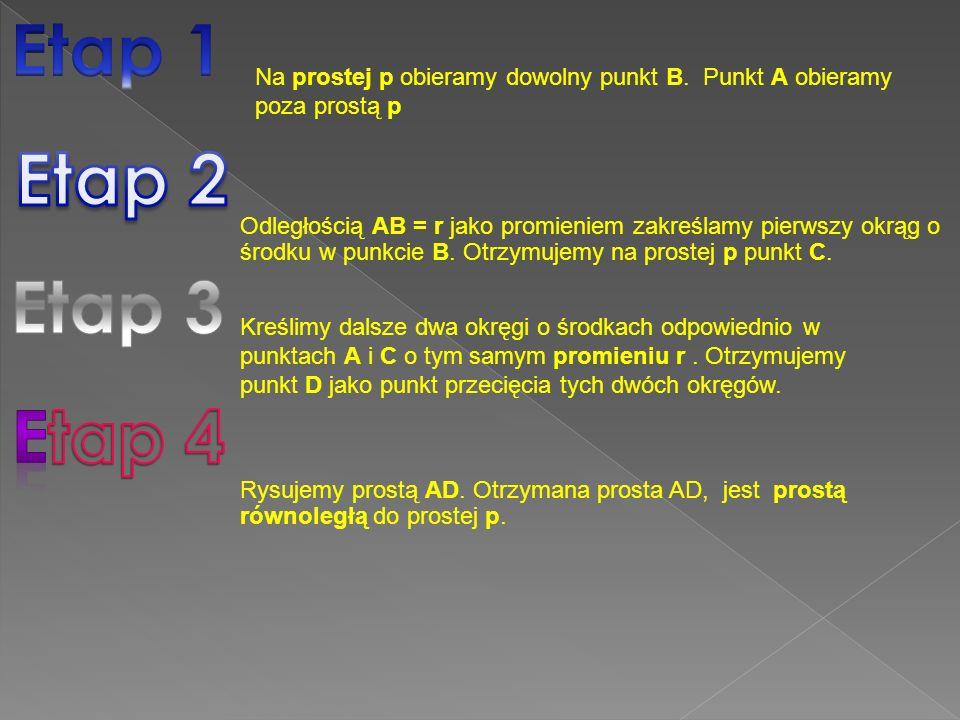 Etap 1 Na prostej p obieramy dowolny punkt B. Punkt A obieramy poza prostą p. Etap 2.