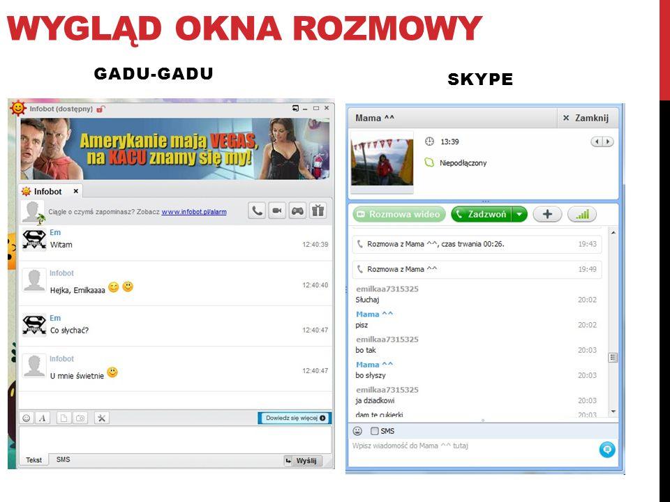 Wygląd okna rozmowy skype Gadu-gadu